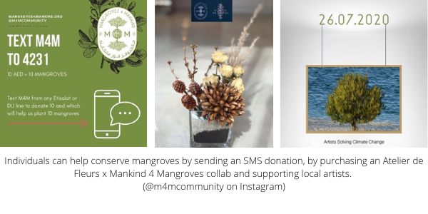 Individuals can help conserve mangroves by sending an SMS donation, by purchasing an Atelier de Fleurs x Mankind 4 Mangroves collab and supporting local artists. (@m4mcommunity on Instagram)